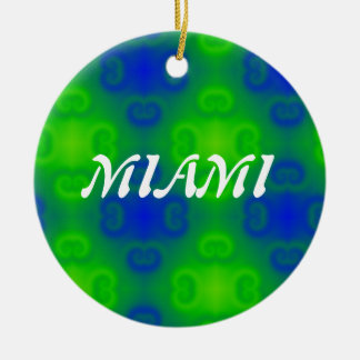 Abstract Art Blur in Blue and Green Ceramic Ornament
