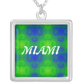 Abstract Art Blur in Blue and Green Square Pendant Necklace