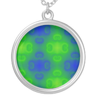 Abstract Art Blur in Blue and Green Round Pendant Necklace