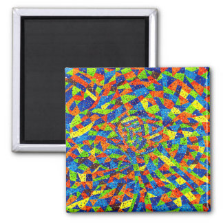 Abstract Art Bright And Colorful Dotted Mosaic Magnet