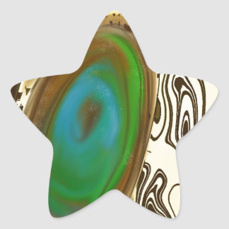 Abstract Art   Brown Agate Star Sticker
