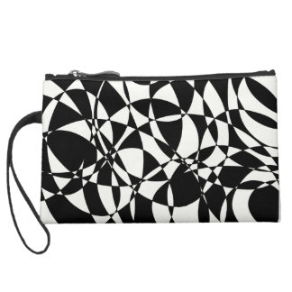 Abstract art chaotic design suede wristlet