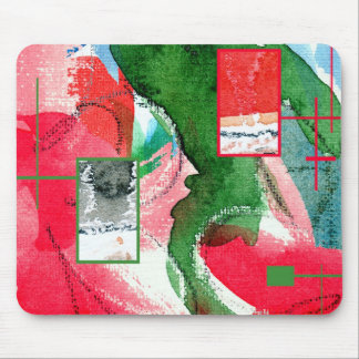 abstract art collage, mixed media and watercolor 2 mousepads