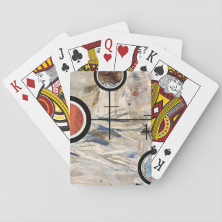 abstract art collage, mixed media and watercolor 3 playing cards
