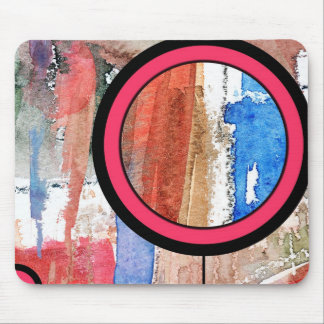abstract art collage, mixed media and watercolor 4 mouse pad