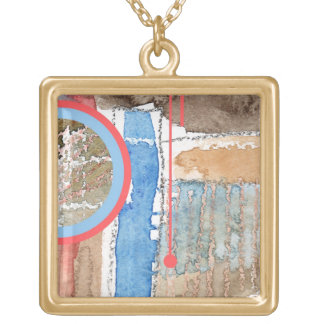 abstract art collage, mixed media and watercolor 5 gold plated necklace