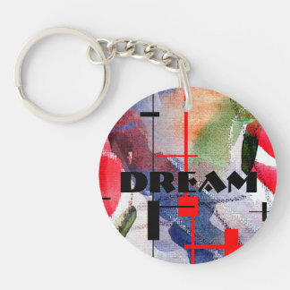 abstract art collage, mixed media and watercolor keychain