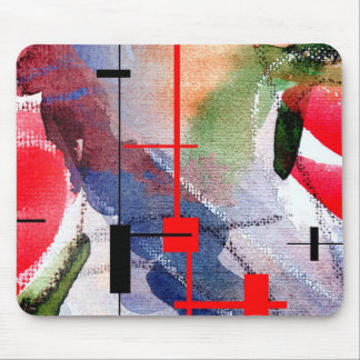 abstract art collage, mixed media and watercolor mousepad