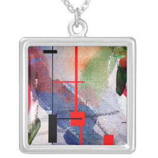 abstract art collage, mixed media and watercolor silver plated necklace