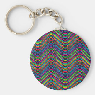Abstract Art Color Decorative Wavy Lines Keychain