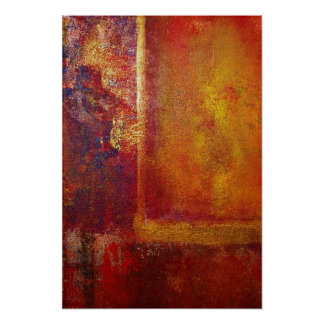 Abstract Art Color Fields Orange Red Yellow Gold Poster