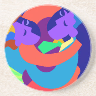 Abstract art colorful dance couple drink coasters