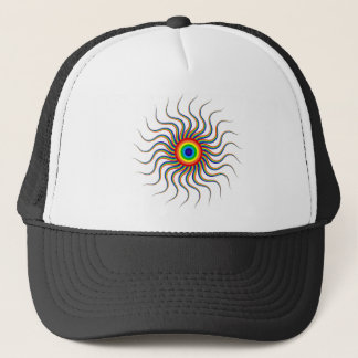 Abstract Art Colorful Prismatic Rainbow Sun Swirl Trucker Hat