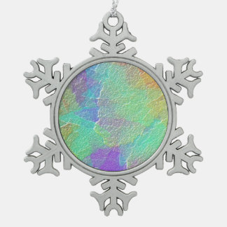 Abstract Art Colorful Textured Glass Snowflake Pewter Christmas Ornament