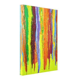Abstract Art colourful paint stripes dripping Canvas Print