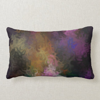 Abstract Art Contemporary Colorful Swirls Lumbar Throw Pillow
