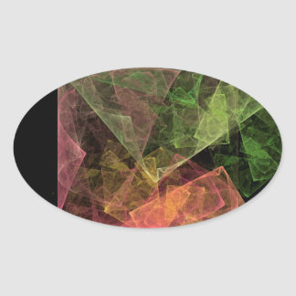 Abstract Art Cubic Space Oval Sticker