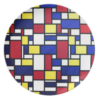 Abstract art, cubism, colorful, modern,fun,chic dinner plates
