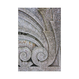 Abstract Art Deco Stone Relief Sculpture Detail Canvas Print