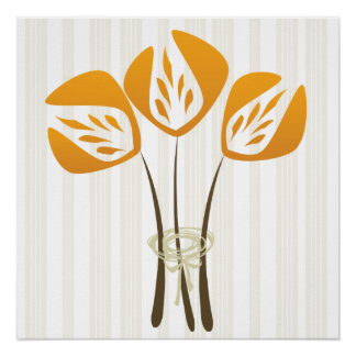 Abstract Art Deco Style Flower Bouquet Poster