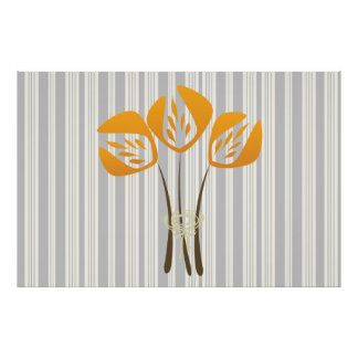 Abstract Art Deco Style Tulips Bouquet Poster
