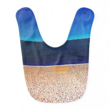 """Beach Themed Abstract Art Designer Baby Bibs """"Beach"""""""