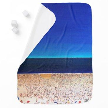 "Beach Themed Abstract Art Designer Baby Blanket ""Beach"""