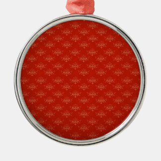 Abstract  Art Digital Red Floral Colors, Shapes St Round Metal Christmas Ornament