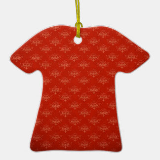 Abstract  Art Digital Red Floral Colors, Shapes St Double-Sided T-Shirt Ceramic Christmas Ornament