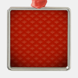 Abstract  Art Digital Red Floral Colors, Shapes St Square Metal Christmas Ornament