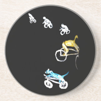 Abstract Art Dogs and Bicycles Sandstone Coaster
