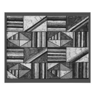 abstract art drawing black and white by alanart poster