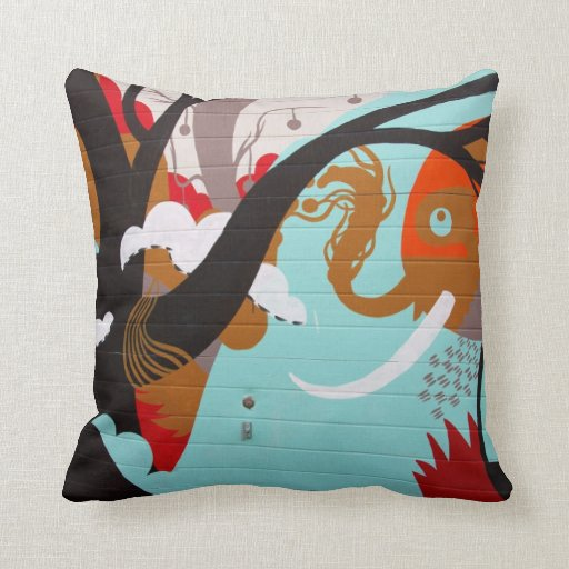 Abstract Art Elephant and Tree Throw Pillows