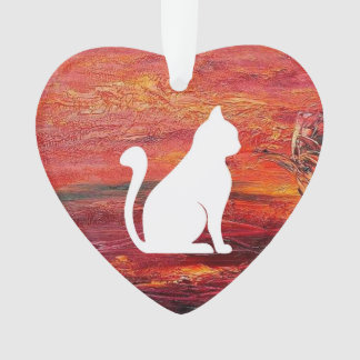 Abstract Art Emotions love With Cat Ornament