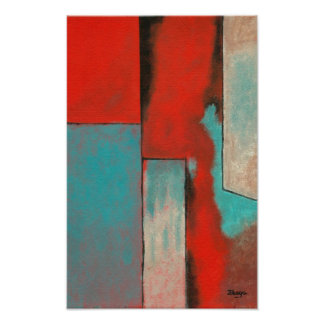 Abstract Art Expressionist Red Aqua Teal Black Poster