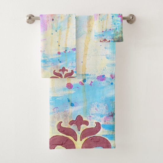 Abstract Art Fleur de Lis Diamonds Paint Splatters Bath Towel Set