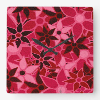 Abstract Art Flower Pattern #3 Square Wall Clock