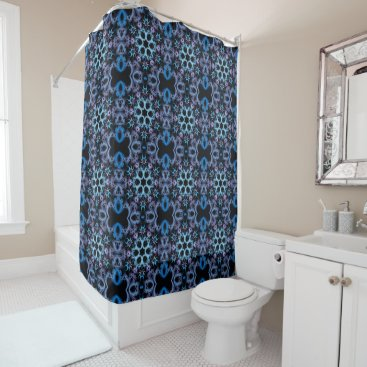 Beach Themed Abstract Art, Fractal Kaleidoscope Purple and Blue Shower Curtain