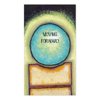 Abstract art fun blue circle painting your words business card