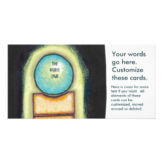 Abstract art fun blue circle painting your words card