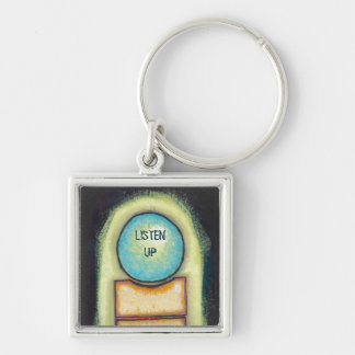 Abstract art fun blue circle painting your words keychain