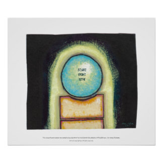Abstract art fun blue circle painting your words poster