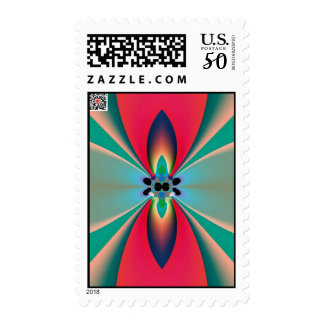 Abstract Art Funky Flower Postage