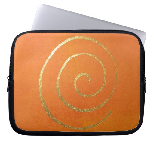 Abstract Art Gold And Orange Golden Spiral Swirl Laptop Computer Sleeve