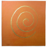 Abstract Art Gold And Orange Golden Spiral Swirl Napkin