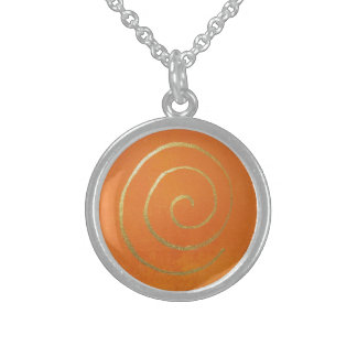 Abstract Art Gold And Orange Golden Spiral Swirl Round Pendant Necklace