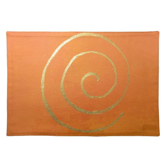 Abstract Art Gold And Orange Golden Spiral Swirl Placemat