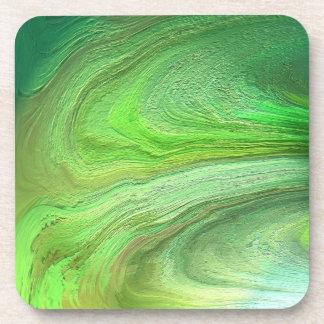 Abstract Art Green Metallic Paint Coaster