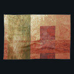 """Abstract Art Grunge Geometric Red Orange Green Kitchen Towel<br><div class=""""desc"""">This graphic design features an abstract rustic grunge geometric shapes style of art and is titled &#39;Converge&#39;. The colors include various shades of red,  orange,  green and gold with lots of texture. Feel free to customize and personalize to meet your needs.</div>"""