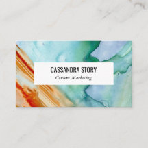 Abstract art hand painted business card teal red